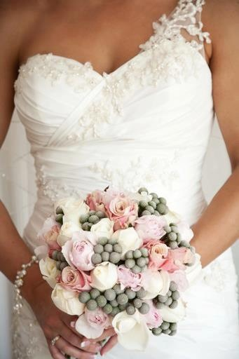 Pink David Austin roses, pink & white standard roses, with brunia. #weddings  www.RedEarthFlowers.com.au