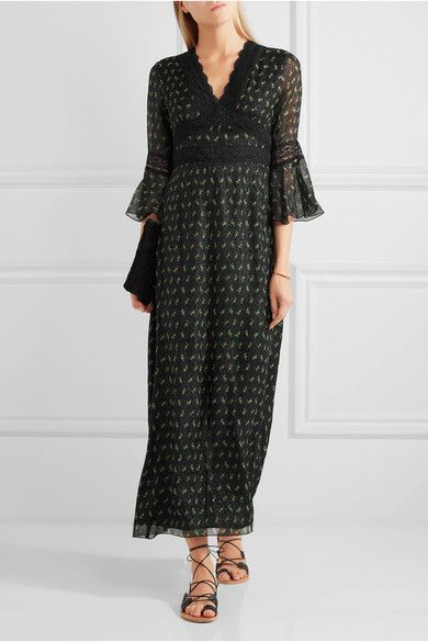 Anna Sui lace-trimmed printed silk-blend crepon maxi dress £490