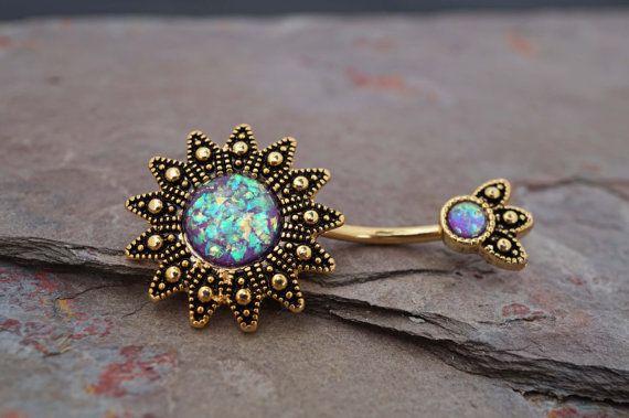 Nombril or 14 carats bagues opale mauve Sunburst par MidnightsMojo