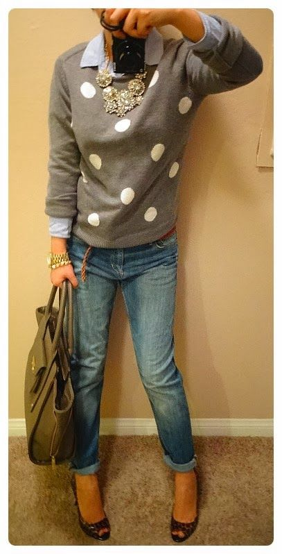 Oxford Shirt: Madewell, Sweater: GAP, BF Jeans: H&M, Bag: Target 3.1 Philip Lim, Leopard Pumps: Nine west, Necklace: J.Crew Factory