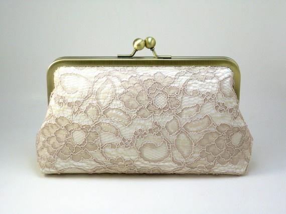 Antoinette Clutch  Champagne on Ivory  Wedding by DavieandChiyo, $70.00