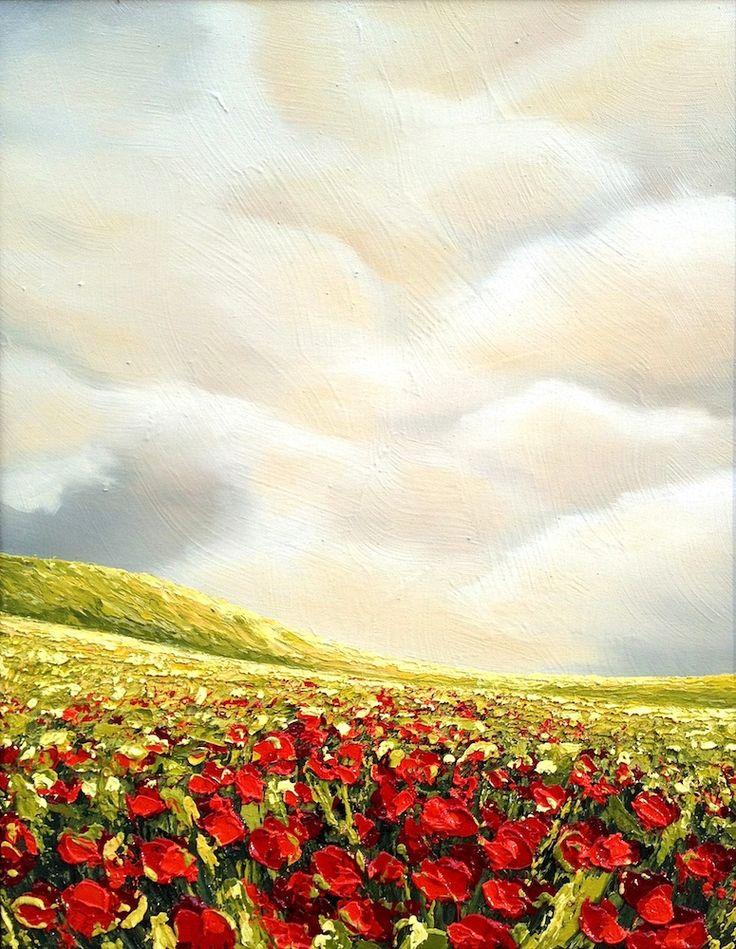 'POPPIES CALL FOR RAIN' by Mel Sebastian Landscape Art for Sale - ART101 Art Gallery & Framing