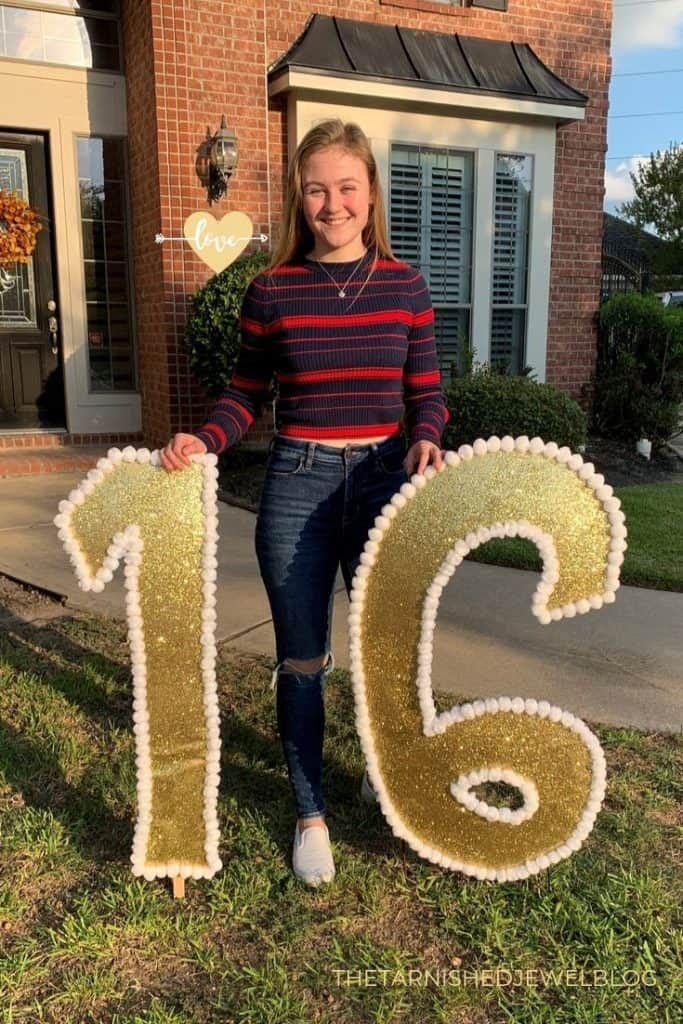 Diy Gold Glitter Yard Letters Sweet 16 Birthday Ideas Sweet 16 Birthday 16th Birthday Gold Diy