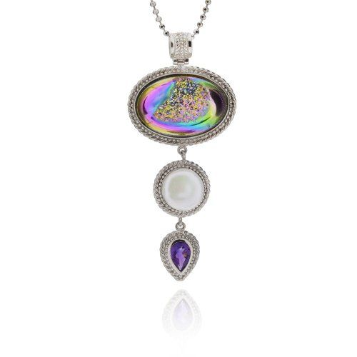 "Sterling Silver Oval Druzy Multi-Stone Drop Pendant Necklace 18"" Chain"