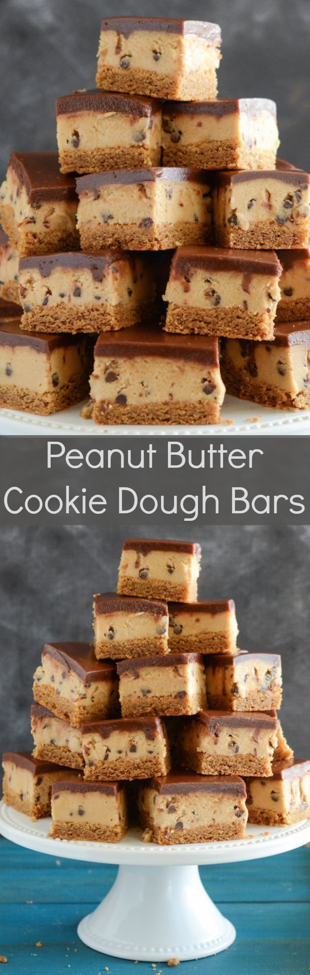 Peanut Butter Cookie Dough Bars - a layer of peanut butter cookie, then a thick layer of cookie dough and topped with chocolate ganache!