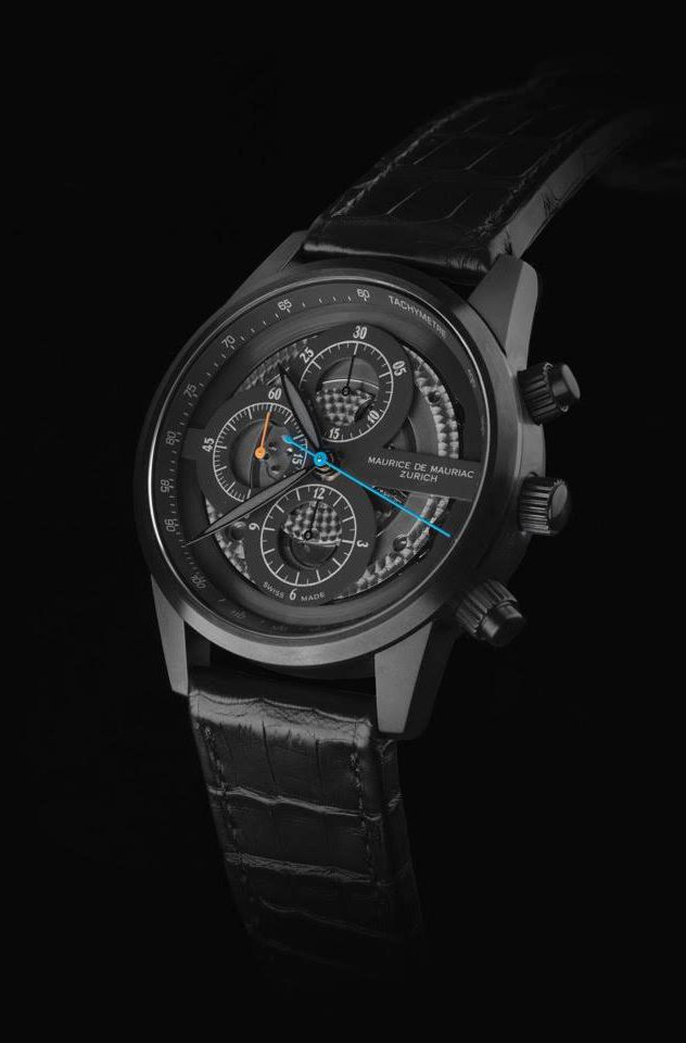 Chrono Modern watch by Maurice de Mauriac with black croco leather strap. Luxury watches for men and women.