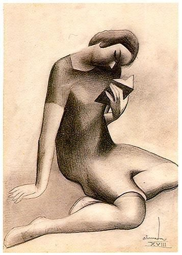 A mulher sentada a ler. Lápis sobre papel. 322x225 mmm José de Almada Negreiros (1873 - 1970 )
