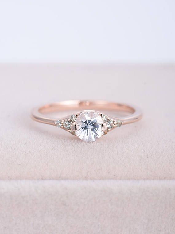 Vintage Art Deco Engagement Ring Rose Gold White Sapphire And