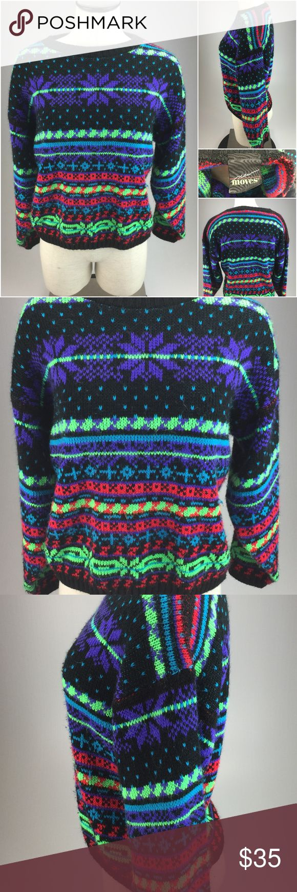 Vintage 1980s New Moves Neon winter sweater G1-4-2 Description: Vintage 1980's New Moves Neon colored Winter Snowflake sweater Brand: New Moves Style: crew neck Sleeve: long Size: tagged as a medium but please view measurements below Color: Black and multi-color neon Condition: Pre-owned - nice  The measurements are as follows laying flat:  1. Back shoulder seam to seam - 21 inches  2. Arms - 18 inches  3. Under arm to Under arm - 20 inches  4. Top to bottom - 20.5 inches New Moves Sweaters…