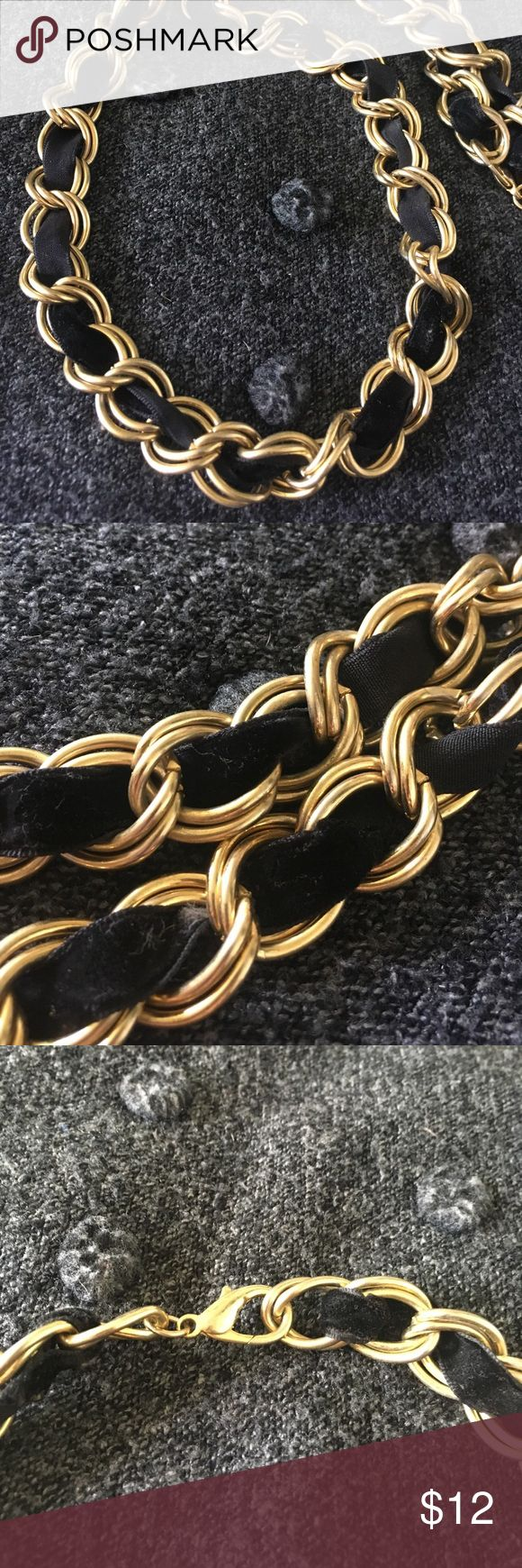 "Long Gold Tone Chunky Ribbon Chain Necklace Very cool gold tone Chunky chain necklace with a black velvet ribbon interwoven throughout. Looks great with a blazer or over a dress. Length measure 32"" Jewelry Necklaces"