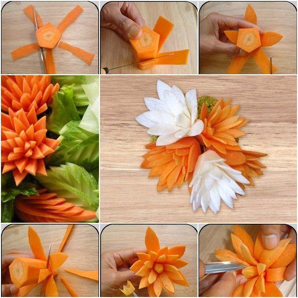 se faire des feuilles et des fleurs en carottes, concombres et navet blanc