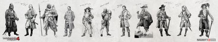 Uncharted 4: Sketch of Pirate Captains, Hyoung Nam on ArtStation at https://www.artstation.com/artwork/g5aP8