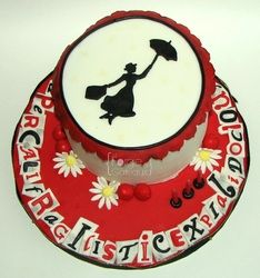 Mary Poppins birthday cake red black white - La Forge à Gâteaux