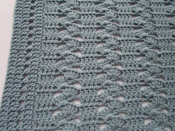Easy Crochet Afghan Pattern Interlocking Shell by KathieSewHappy