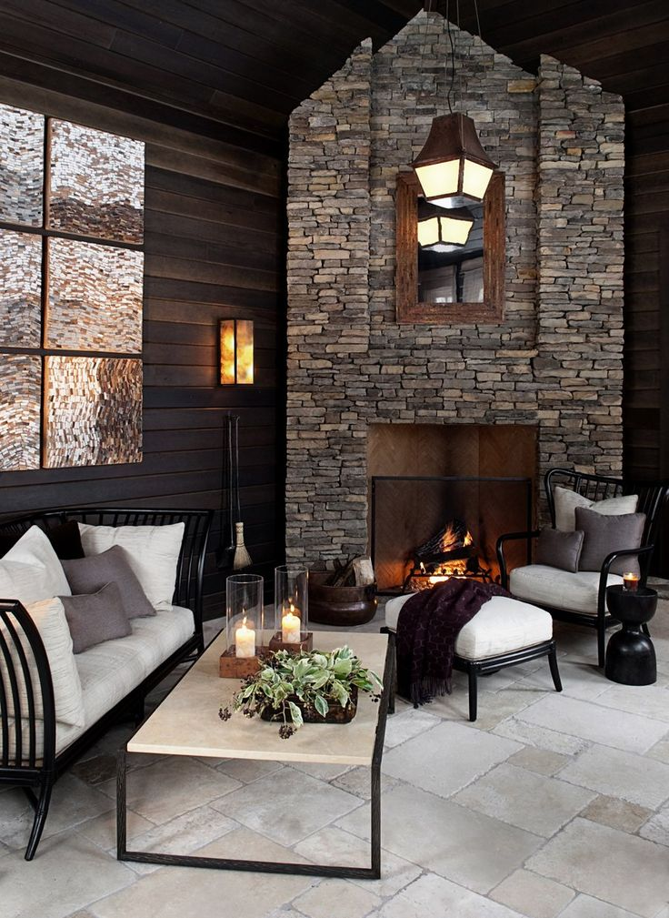 marshall erb design stone fireplace