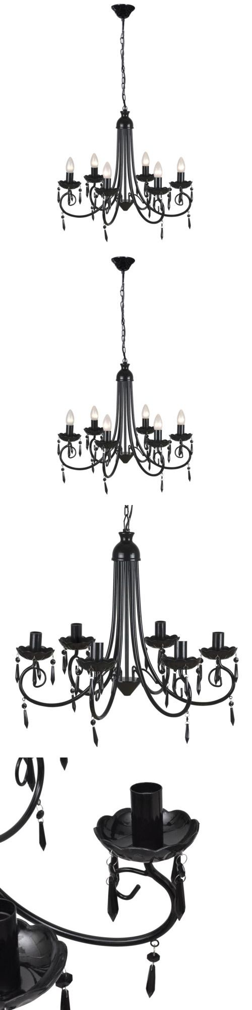 Lamps And Lighting: Modern Crystal Chandelier Ceiling Light 6 Lamp Pendant Lighting Fixture Black -> BUY IT NOW ONLY: $47.99 on eBay!