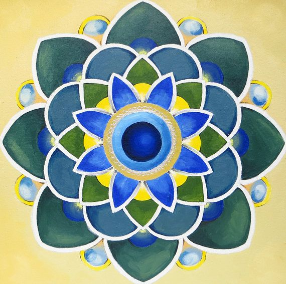 Blue Mandala Zen and Meditation Modern Mandala Mantra Oil #oilpainting #handpainted #originalart #mikimayo  #mandala, #zen