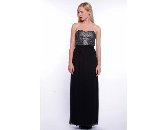 rochie lunga negru cu argintiu