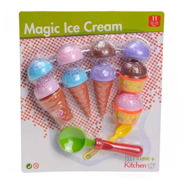 Schep-ijsset uit de Home & Kitchen serie. Deze 16-delige set bestaat uit een ijslepel, drie hoorntjes, 9 bolletjes ijs, twee bakjes en een lepeltje. Afmeting: lengte ijsje 10 cm - Home Kitchen IJsset