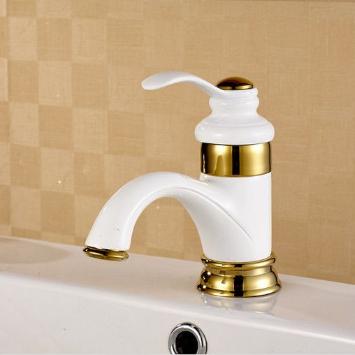 Click To Buy Free Shipping Baked White Paint Bathroom Basin Mixer Tap