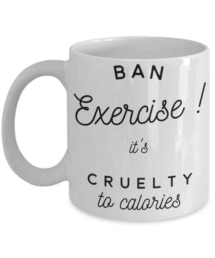 Funny Weight Loss Mug 'Ban Exercise', Double-Sided Print, Gift Idea, 11oz or 15oz by PortunaghDesign on Etsy