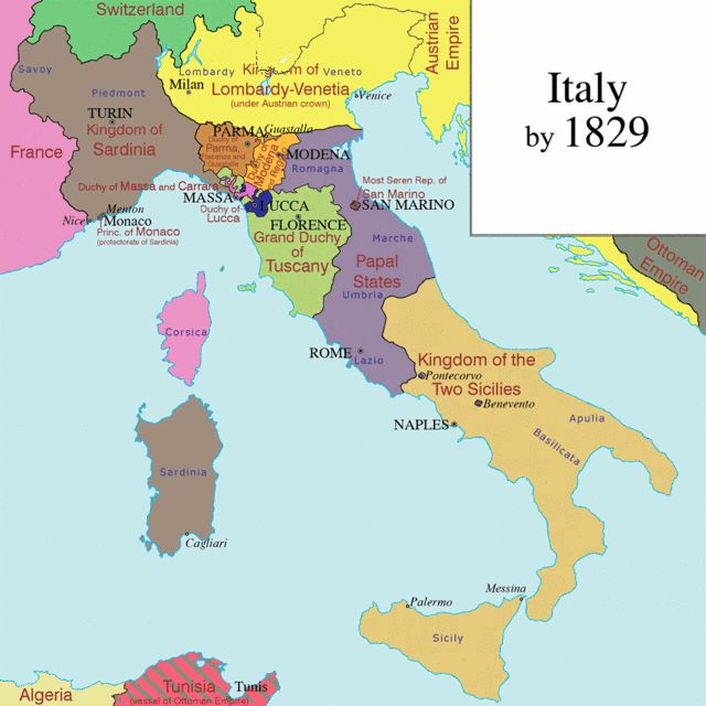 "Italian Unification AKA ""The Risorgimento"" Timeline [GIF] [640x640] : MapPorn"