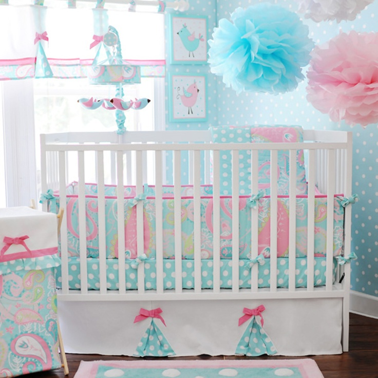 This is the set Jordan wants for Graclyn How Sweet almost sugary sweet!: Crib Bedding, Babies, Baby Girl, Baby Room, Baby Sam, Aqua, Pixie Baby, Bedding Sets