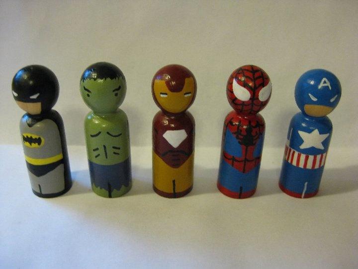 Superhero peg doll set. $25.00, via Etsy.