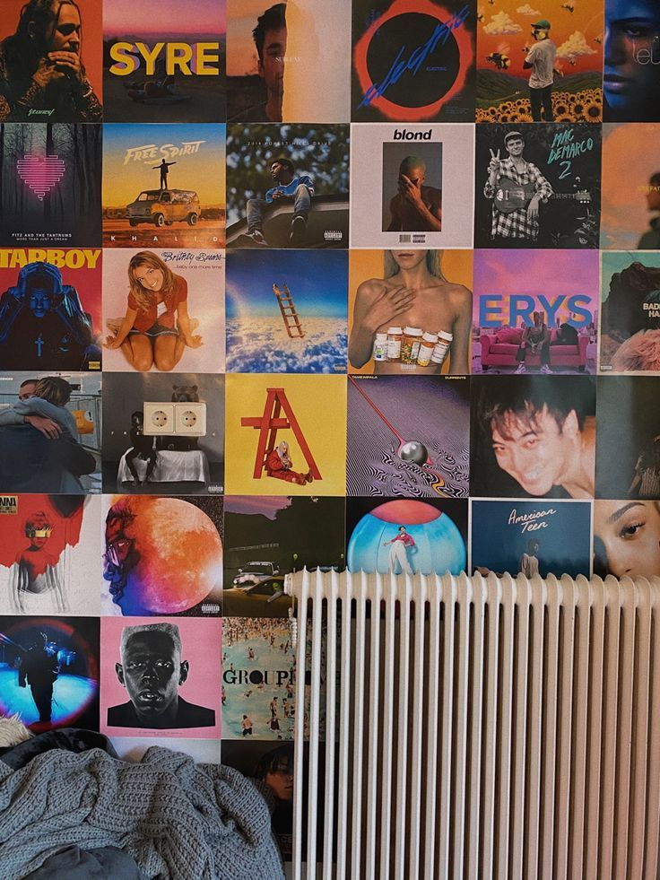 Album Covers Aesthetic On Wall Neon Room Retro Bedrooms Wall Collage