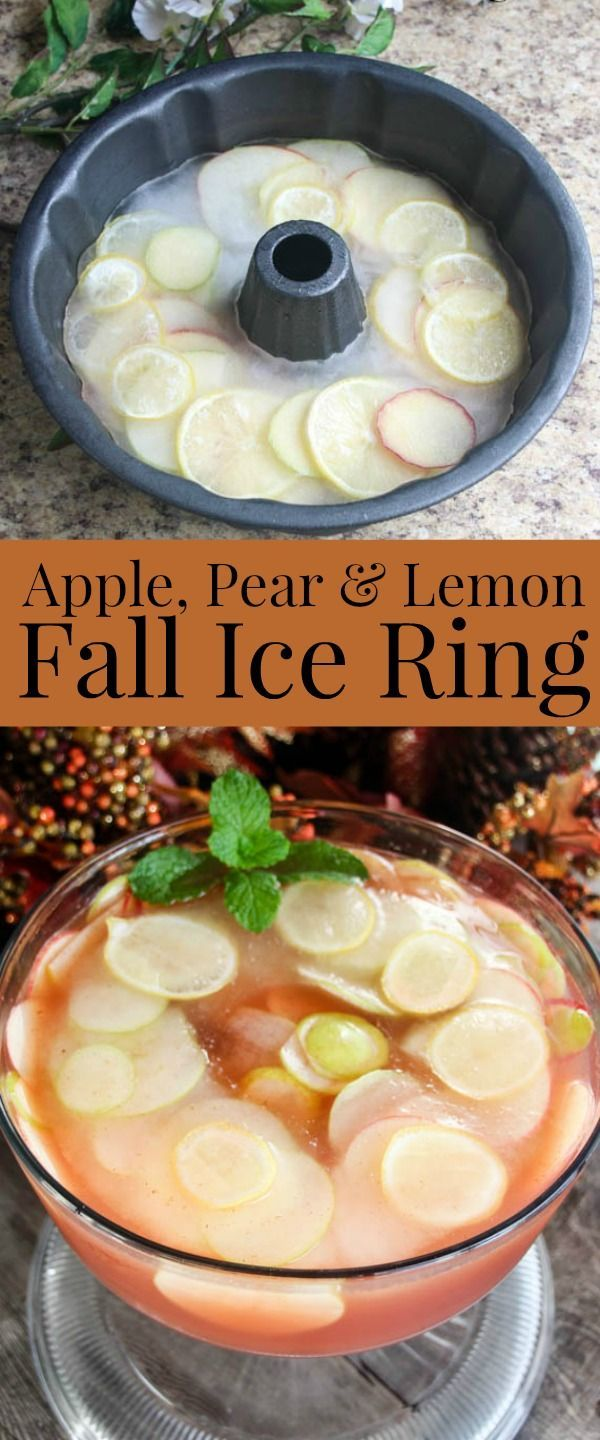 How to make an ice ring using apple and pear slices. Spruce up your fall punch recipe with this Apple, Pear, and Lemon Ice Ring. This easy ice ring recipe adds flavor and looks lovely in your punch bowl as well. Perfect for Harvest party!