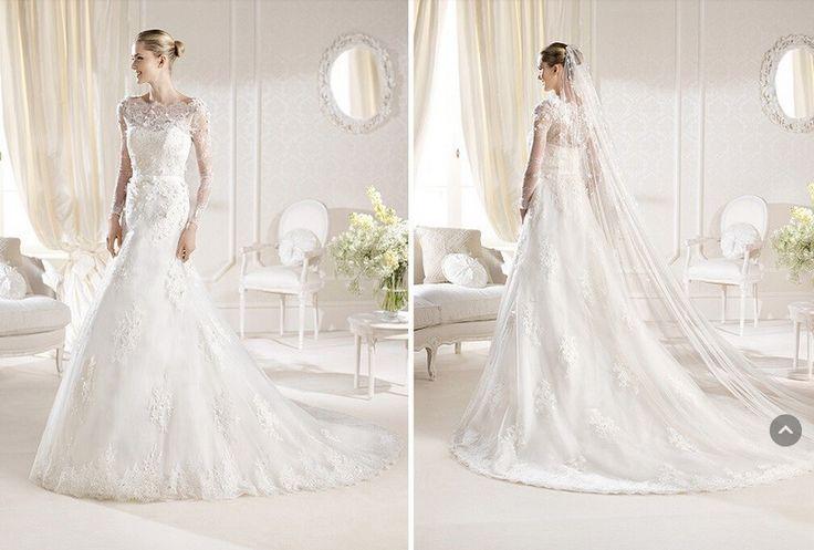 New Arrivals A-line White Long Sleeve Lace Unique Wedding