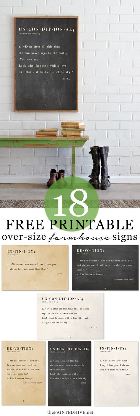 18 Amazing FREE Printable Farmhouse Quote Signs using Dictionary Definitions