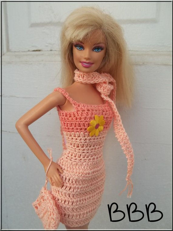Crochet Barbie Clothes Orange Spaghetti by BarbieBoutiqueBasics