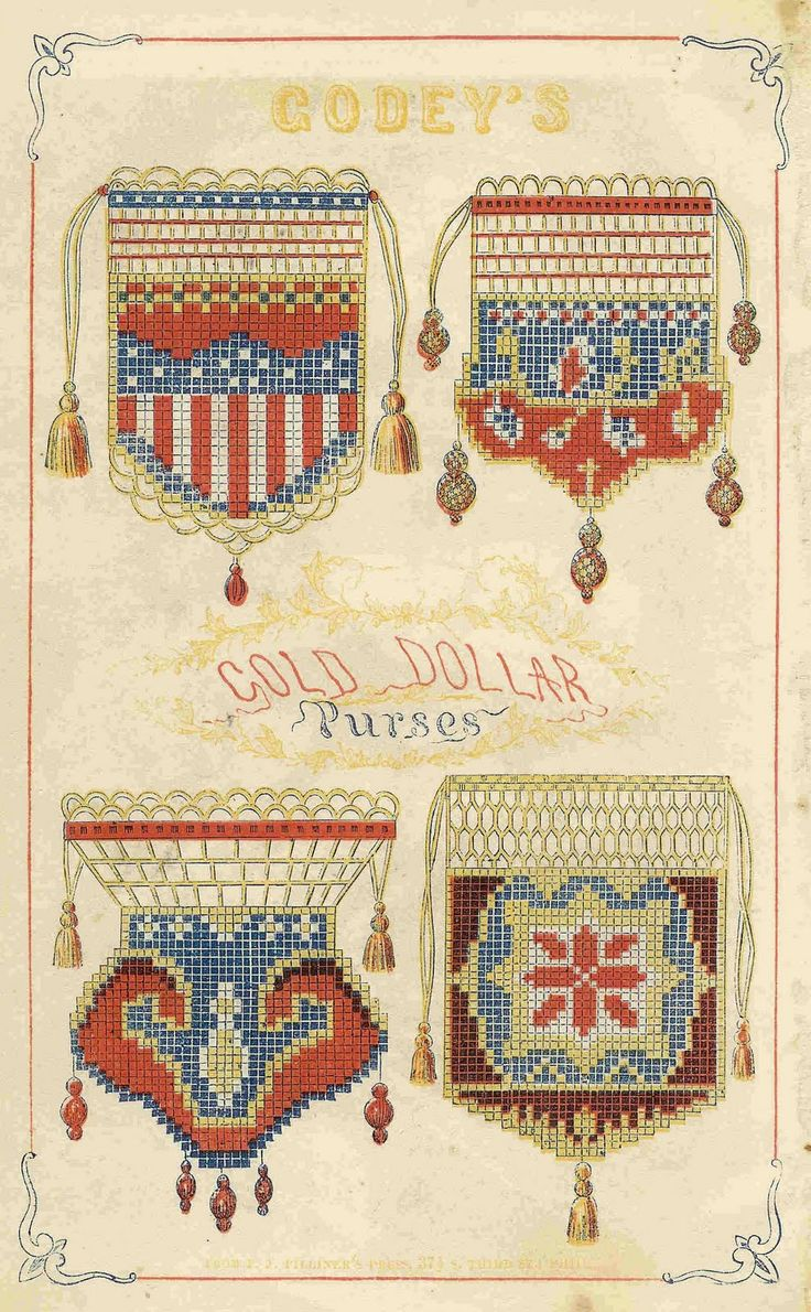 Gold Dollar purses. From Godey's Fashion Book. America, 1859.