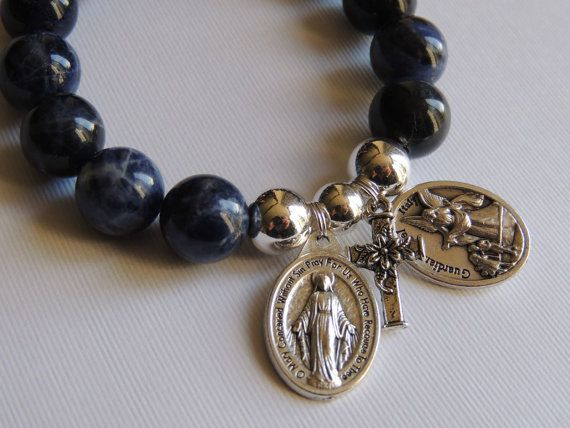 Miraculous Mary Sodalite Blue Gemstone Bracelet - Guardian Angel / St Christopher Medal Cross Charm - Silver plated beads