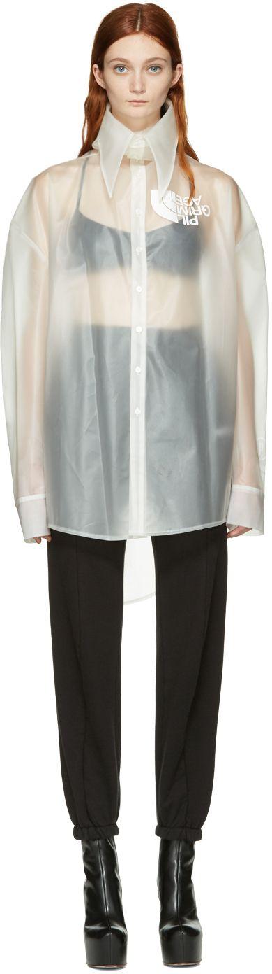 Hood by Air: Transparent Latex Pilgrim Shirt | SSENSE