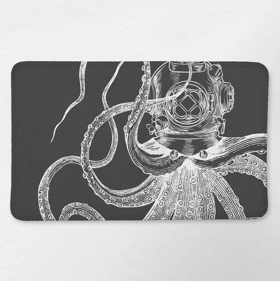 Octopus Bathroom Nautical Bath Rug Octopus Bath Mat by Loftipop