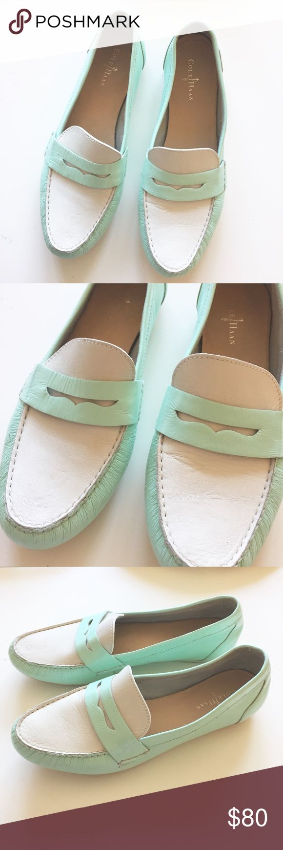Cole Haan loafers, size 9 Cole Haan mint green and white loafers, size 9. Small signs of wear but in excellent overall condition! Cole Haan Shoes Flats & Loafers