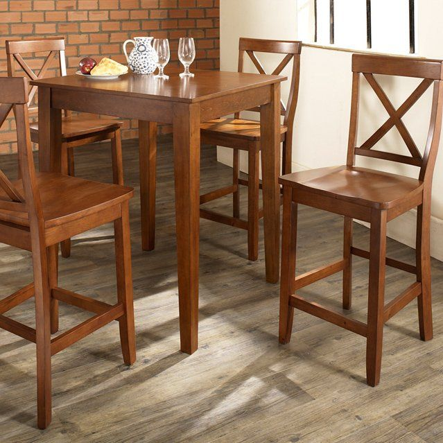 Have to have it. Crosley 5-Piece Pub Dining Set with Tapered Leg and X-Back Stools - $509 @hayneedle.com
