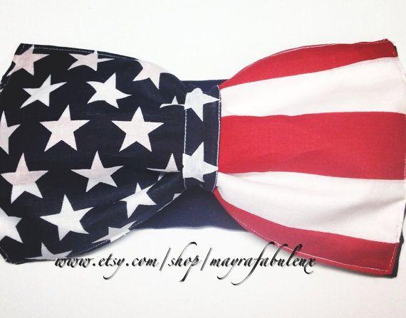 Original American flag bow bandeau. by mayrafabuleux on Etsy, $20.00