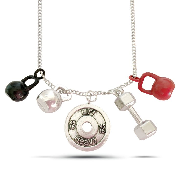 Strength Fitness Necklace - Lift Heavy Weight Plate, Kettlebell, Dumbbell - 5 charms