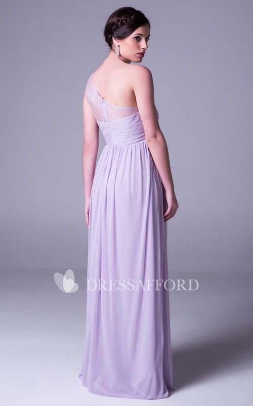 a9cc5cc7ed495 One-shoulder Chiffon Empire long Maternity Dress With Lace And Illusion