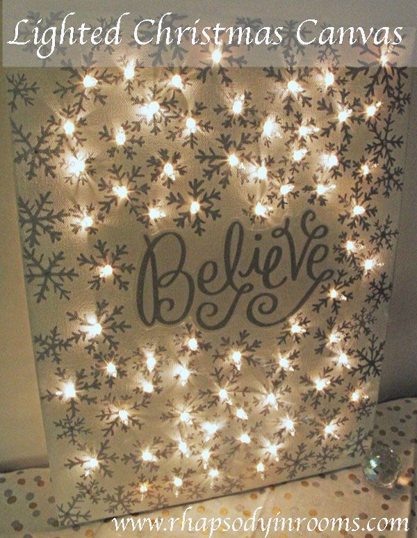 Make this sparkly and subtly lit lighted Christmas canvas for your holiday decor! It adds the perfect and cozy lighting for Christmas!