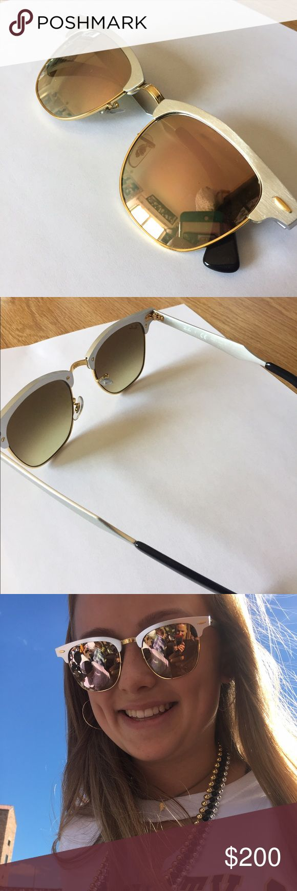 Ray-Ban Clubmaster Aluminum Sunglasses clubmaster sunglasses, aluminum (silver with copper mirror), brand new only worn a few times, really comfortable and heavy duty. Ray-Ban Accessories Sunglasses