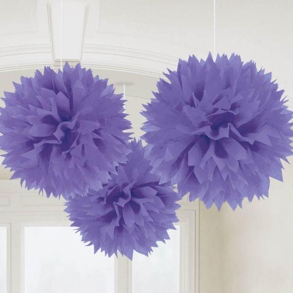 Pompony dekoracyjne fioletowe (3szt.)