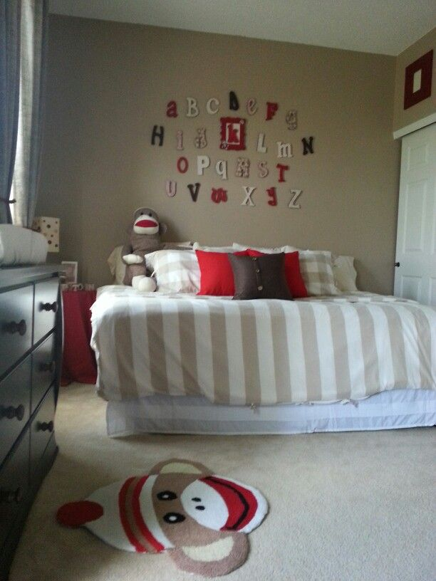 Sock monkey nursery,  baby boy
