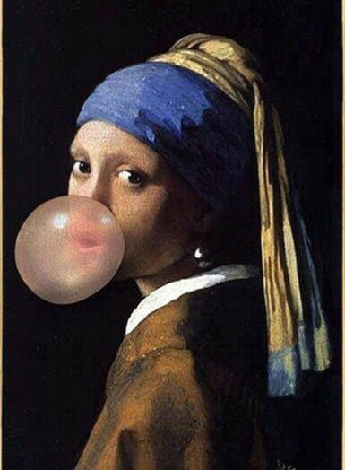 The Girl with one pearl earring blowing a bubble with pink bubble gum art