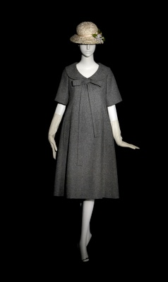 "1958 Yves Saint Laurent for Dior ""Trapeze We were way too poor for designer clothes, but cheap knock-offs were affordable. This looks familiar--since my momma was pretty much pregnant from 1952 through 1960 she probably wore something this baggy a lot."