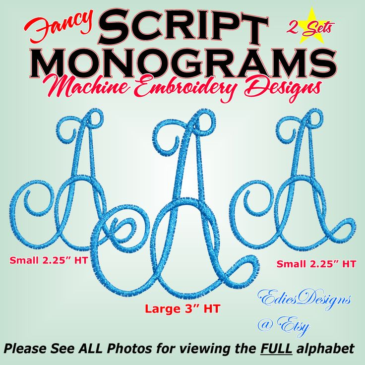 ** NEW ** Fancy Script Monograms These has smooth satin ...