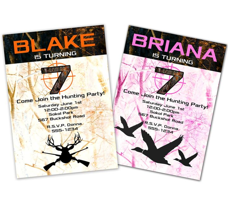 Orange & Pink Camo Birthday Invitations